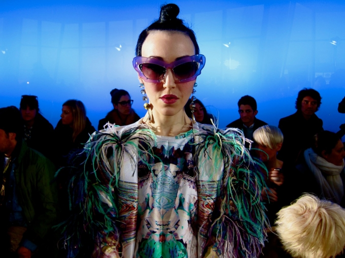 Michelle harper wearing Linda Farrow x Prabal Gurung