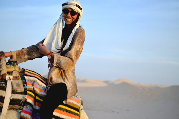 riding camels in Tunisia