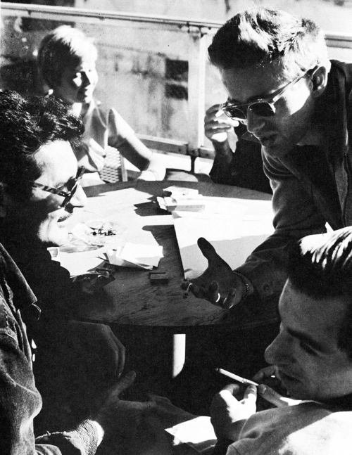 James Dean with his friends on the roof of the Museum of Modern Art, 1954