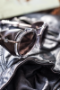 Leather side shields on Moncler Lunettes MC1106