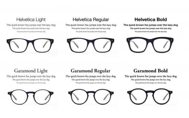 Type Glasses Typography Bold Regular Light Helvetica Garamond